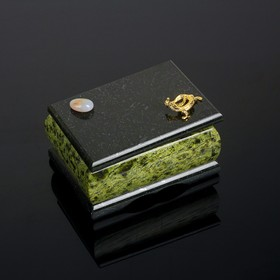 Шкатулка с ящеркой и галтовкой, 8,5х12х6,5 см, змеевик