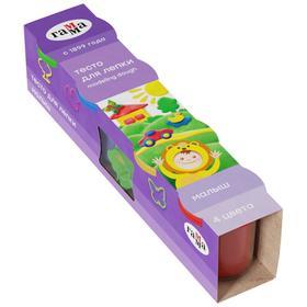 Тесто для лепки 4 цв х 180 г «Гамма» «Малыш» + 6 формочек, в картонном рукаве