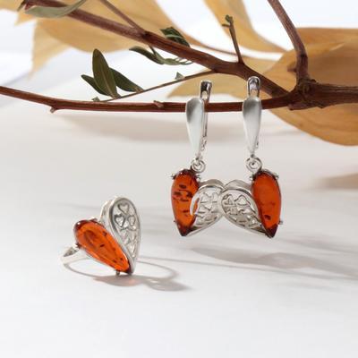 Гарнитур посеребрение 2 пр: серьги, кольцо, сердца, цвет коньячный, 18 размер