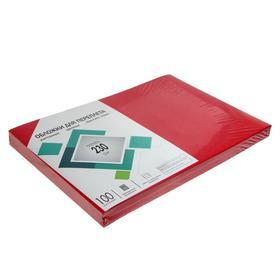 """Обложки А3 Гелеос """"Кожа"""" 230г/м, красный картон, 100л."""