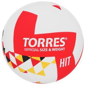 Мяч волейбольный TORRES Hit, размер 5, синтетическая кожа (ПУ), клееный, бутиловая камера, цвет белый/красный/мультколор