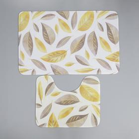 Набор ковриков для ванны и туалета Доляна «Листья», 2 шт: 50×80, 40×50 см