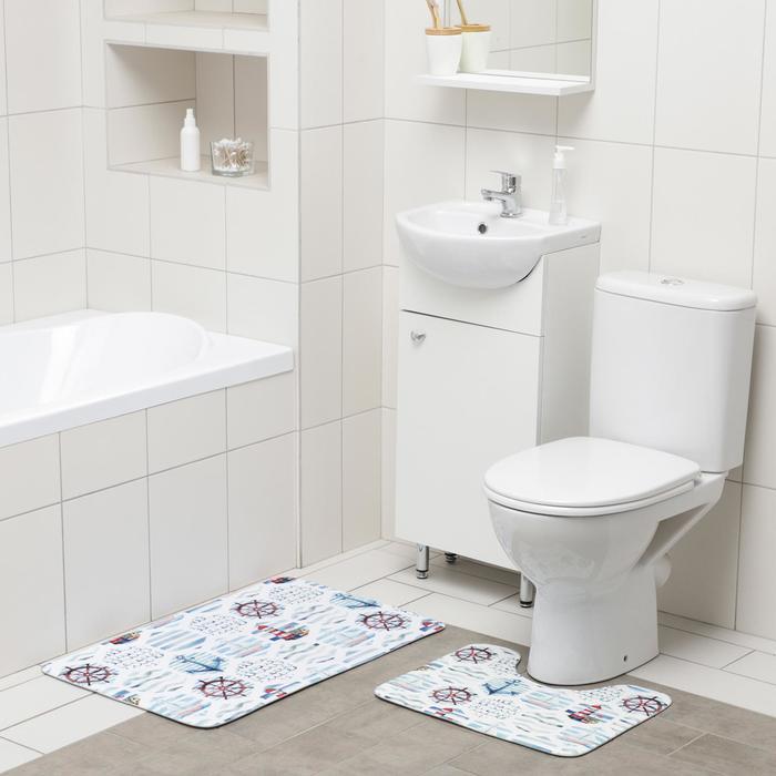 Набор ковриков для ванны и туалета Доляна «Морской», 2 шт: 50×80, 40×50 см
