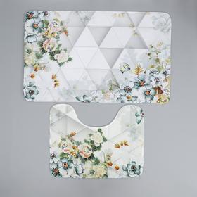 Набор ковриков для ванны и туалета Доляна «Геометрия цветов», 2 шт: 50×80, 40×50 см