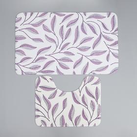 Набор ковриков для ванны и туалета Доляна «Воспоминания», 2 шт: 50×80, 40×50 см