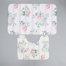 Набор ковриков для ванны и туалета Доляна «Розалия», 2 шт: 50×80, 40×50 см