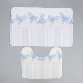 Набор ковриков для ванны и туалета Доляна «Рози», 2 шт: 50×80, 40×50 см