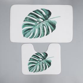 Набор ковриков для ванны и туалета Доляна «Тропический лист», 2 шт: 50×80, 40×50 см