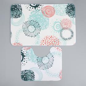 Набор ковриков для ванны и туалета Доляна «Абстракция», 2 шт: 50×80, 40×50 см