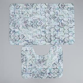 Набор ковриков для ванны и туалета Доляна «Рэли», 2 шт: 50×80, 40×50 см