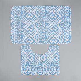 Набор ковриков для ванны и туалета Доляна «Печать», 2 шт: 50×80, 40×50 см