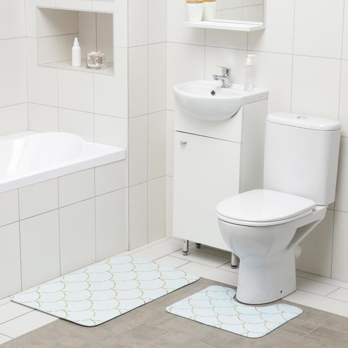 Набор ковриков для ванны и туалета Доляна «Чешуя», 2 шт: 50×80, 40×50 см