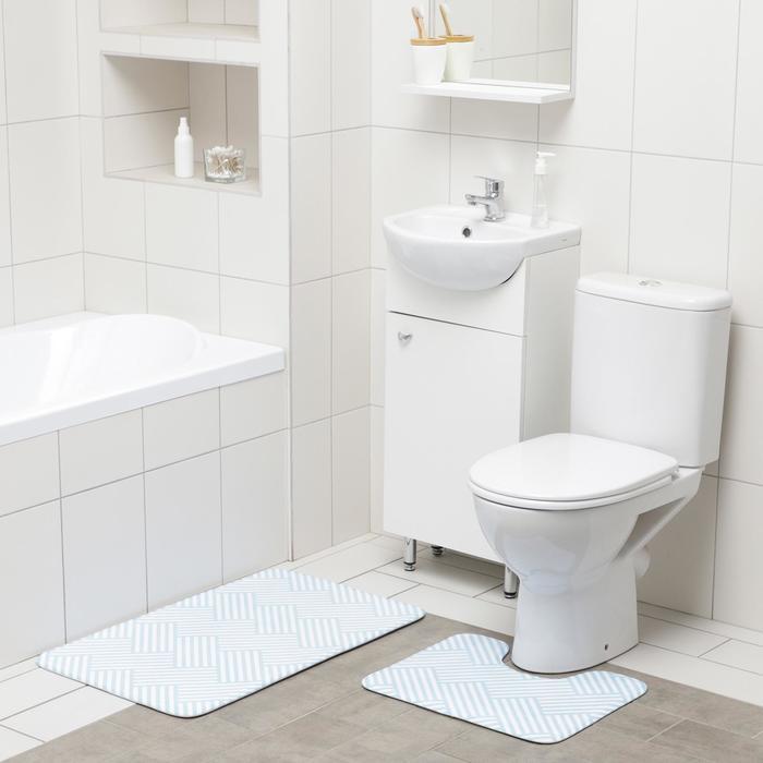 Набор ковриков для ванны и туалета Доляна «Паркет», 2 шт: 50×80, 40×50 см, цвет голубой