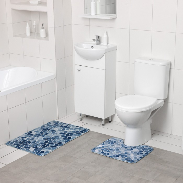 Набор ковриков для ванны и туалета Доляна «Бурлеск», 2 шт: 50×80, 40×50 см, цвет серый