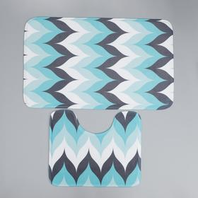 Набор ковриков для ванны и туалета Доляна «Волна», 2 шт: 50×80, 40×50 см, цвет голубой