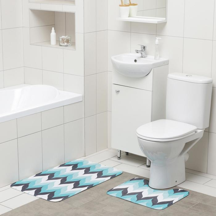 Набор ковриков для ванны и туалета Доляна «Волна», 2 шт: 50×80, 40×50 см, цвет голубой - фото 314811761
