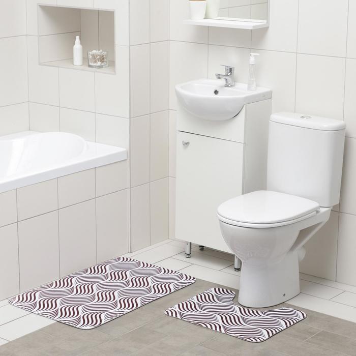 Набор ковриков для ванны и туалета Доляна «Волна», 2 шт: 50×80, 40×50 см, цвет коричневый - фото 314811766