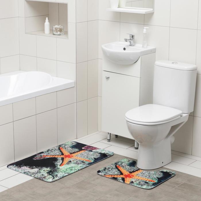 Набор ковриков для ванны и туалета Доляна «Морская звезда», 2 шт: 50×80, 40×50 см