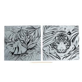 Набор гравюр «Джунгли», с металлическим эффектом «серебро», 2 шт, 19х19 см