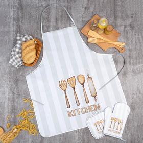 Кухонный набор Доляна «Kitchen», прихватка 17*17 см, рукавица 26*16 см, фартук 70*80 см 100% п/э