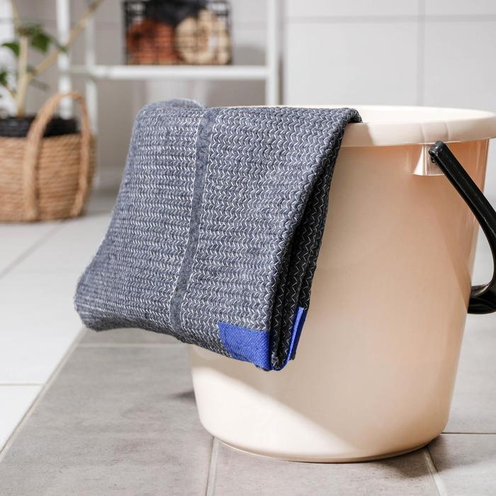 Тряпка для пола с вырезом под швабру Доляна, 50×70 см, плотность 220 гр, цвет серый