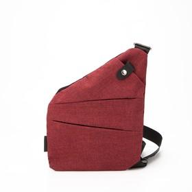 Сумка-слинг, отдел на молнии, 3 наружных кармана, цвет бордовый