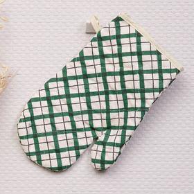 Прихватка-рукавица Клетка 9266-1 25х17 см, зелёный, рогожка, хлопок 100%, ХПВ
