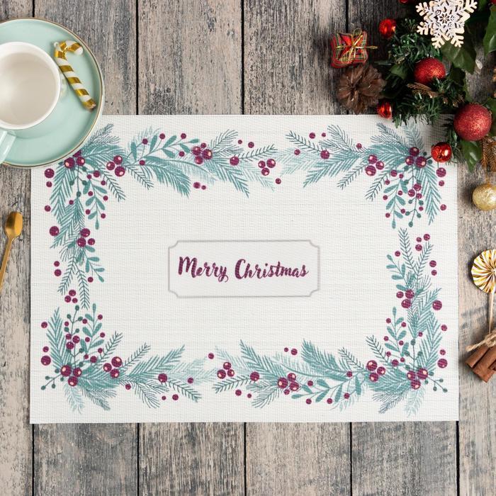 Новогодняя салфетка на стол Merry Christmas ПВХ, 40х29 см