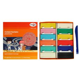 Пластилин 12 цветов 168 г (6 классических, 6 с блёстками) «Гамма» «Оранжевое солнце», со стеком