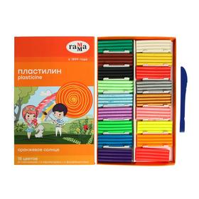 Пластилин 18 цветов 234 г (6 классических, 6 флуоресцентных, 6 перламутровых) «Гамма» «Оранжевое солнце», со стеком