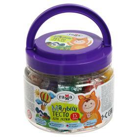 Тесто для лепки 15 цветов, 375 г «Гамма» «Малыш» +2 формочки, в пластиковой банке с ручкой