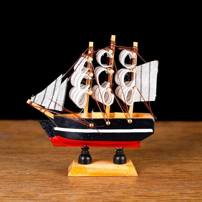 Корабль сувенирный малый «Дельфин», борта синие с белой полосой, паруса белые, 3 × 10 × 10 см