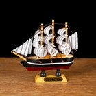 "Ship souvenir small ""three-masted"", side black with a white stripe, sail white, 3 × 10 × 10 cm"