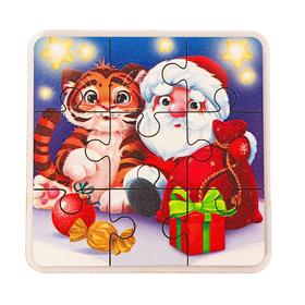 Пазл «Тигрёнок с Дедушкой Морозом»