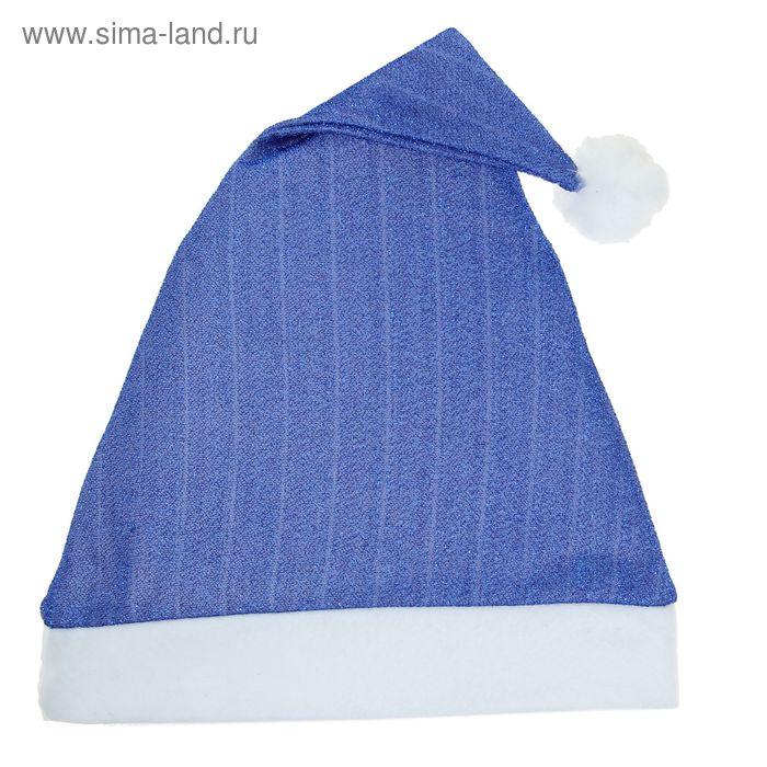 Новогодний колпак синий с люрексом