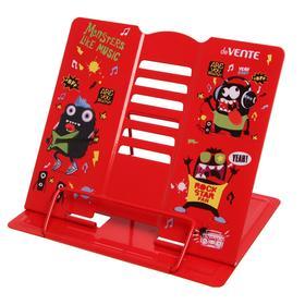 Подставка для учебников и книг металлическая 21 x 19 см, deVENTE Monsters Like Music, вес 500 г, с противоскользящими ножками, красный