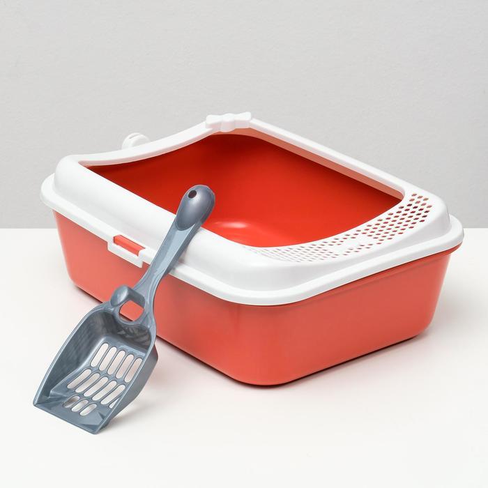 Туалет Сима с бортом + совок 30 х 39 х 13,5 см красный FIX - быстрая доставка