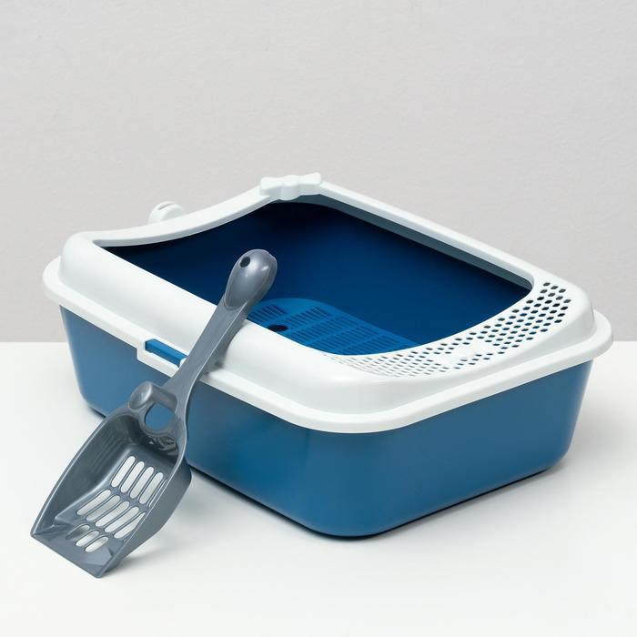 Туалет Сима с бортом + сетка + совок 30 х 39 х 13,5 см синий FIX - быстрая доставка