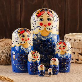 Матрёшка «Валюша», синий сарафан, 7 кукольная, 20-22см