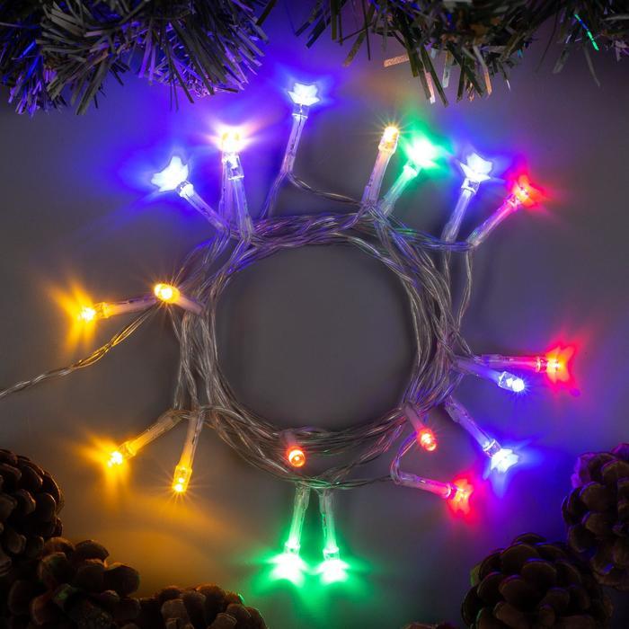 """Гирлянда """"Нить"""" 2 м , IP20, прозрачная нить, 20 LED, свечение мульти, 2 режима, 3 х AA"""
