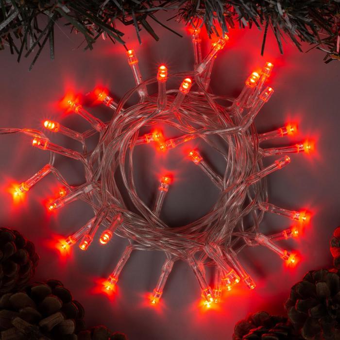 """Гирлянда """"Нить"""" 2 м , IP20, прозрачная нить, 20 LED, свечение красное, 2 режима, 3 х AA"""