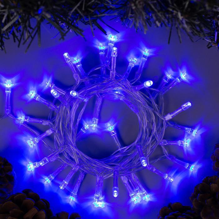 """Гирлянда """"Нить"""" 2 м , IP20, прозрачная нить, 20 LED, свечение синее, 2 режима, 3 х AA"""