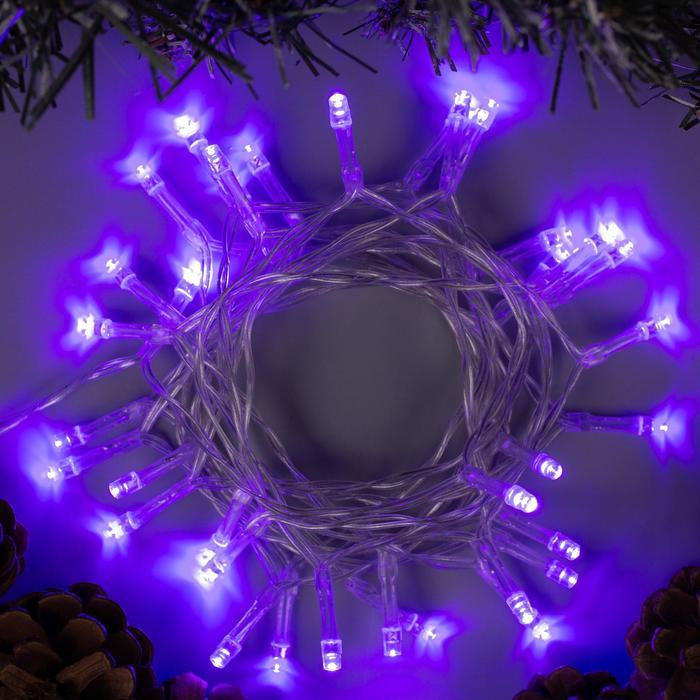 """Гирлянда """"Нить"""" 2 м , IP20, прозрачная нить, 20 LED, свечение фиолетовое, 2 режима, 3 х AA"""