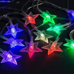 """Гирлянда """"Нить"""" 3 м с насадками """"Звёзды"""", IP20, прозрачная нить, 20 LED, свечение мульти, фиксинг, 3 х AA"""
