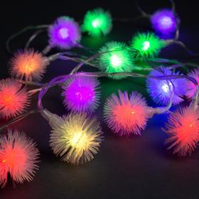 """Гирлянда """"Нить"""" 3 м с насадками """"Ёжики"""", IP20, прозрачная нить, 20 LED, свечение RG/RB, мигание, USB"""