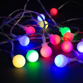 """Гирлянда """"Нить"""" 3 м с насадками """"Шарики"""", IP20, прозрачная нить, 20 LED, свечение RG/RB, мигание, USB"""