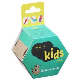 Кинезио тейп Kinexib Classic Kids 4 см х 4 м, цвет зелёный, принт енот