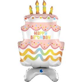 Шар фольгированный 38'' «Торт на день рождения», ходячая фигура, для воздуха