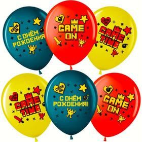 """Шар латексный 12"""" Game Time «С днём рождения!», пастель, 2-сторонний, набор 25 шт., МИКС"""