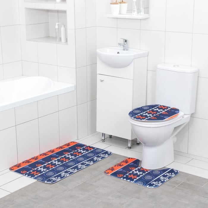 Набор ковриков для ванны и туалета Доляна «Арабеск», 3 шт: 37×43, 37×45, 45×73 см